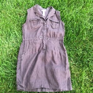 Calvin Klein brown linen dress with pockets